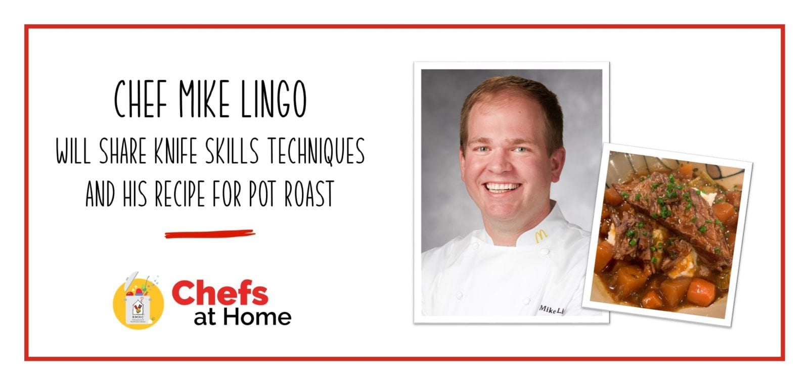 Photo of Chef Mike Lingo next to a plate of pot roast
